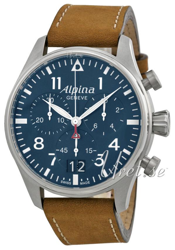 Alpina Startimer Herrklocka AL-372N4S6 Blå/Läder Ø44 mm - Alpina