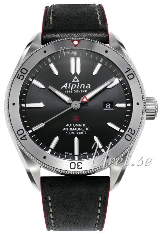Alpina Alpiner Herrklocka AL-525BS5AQ6 Svart/Läder Ø44 mm - Alpina