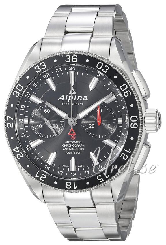 Alpina Alpiner Herrklocka AL-860B5AQ6B Svart/Stål Ø44 mm - Alpina