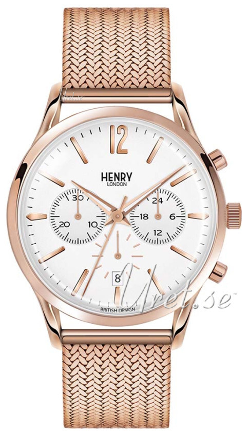 Henry London Hampstead Herrklocka HL41-CM-0040 Vit/Roséguldstonat stål - Henry London