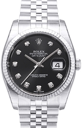 Rolex Datejust Steel Svart/Stål Ø36 mm 116234-0083
