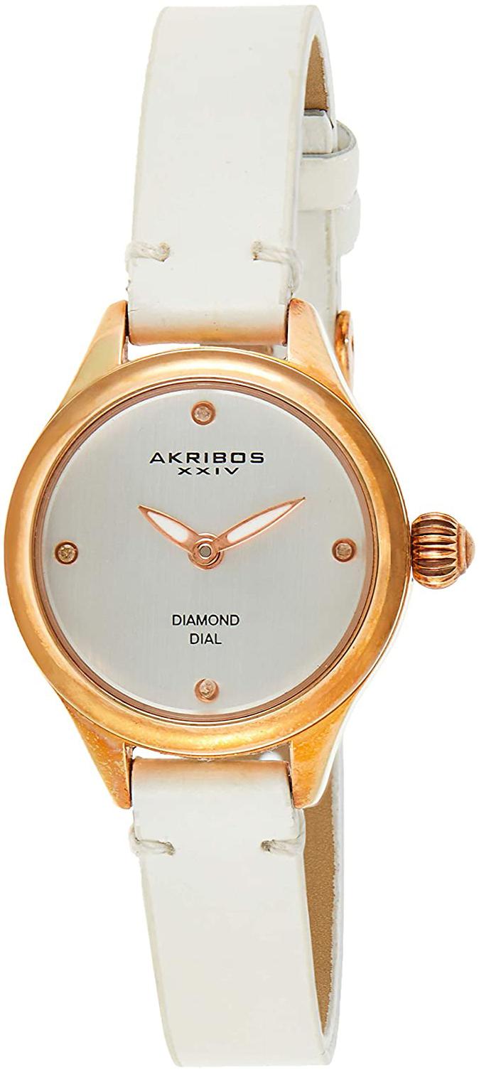 Akribos XXIV Diamond Damklocka AK750WTR Silverfärgad/Läder Ø26 mm - Akribos XXIV