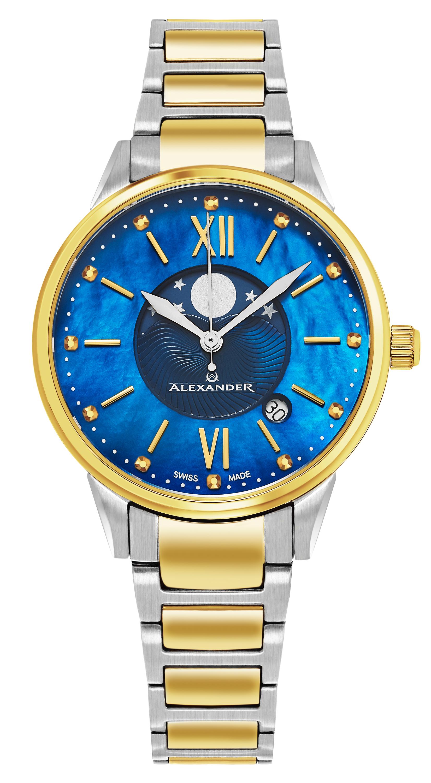 Alexander Monarch Damklocka A204B-03 Blå/Gulguldtonat stål Ø35 mm - Alexander