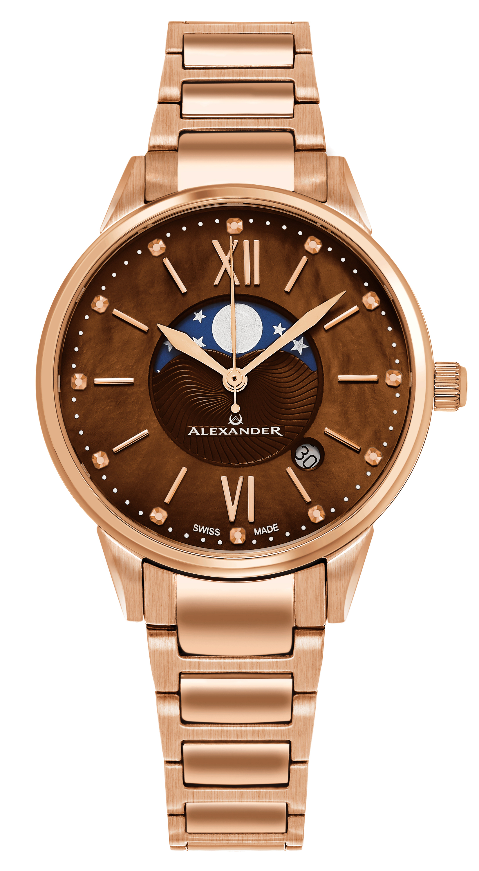 Alexander Monarch Damklocka A204B-06 Brun/Roséguldstonat stål Ø35 mm - Alexander