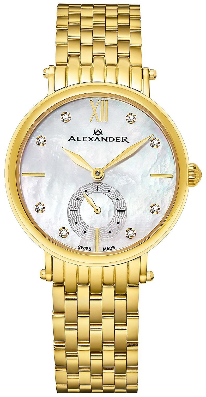Alexander Monarch Damklocka AD201B-02 Silverfärgad/Gulguldtonat stål - Alexander