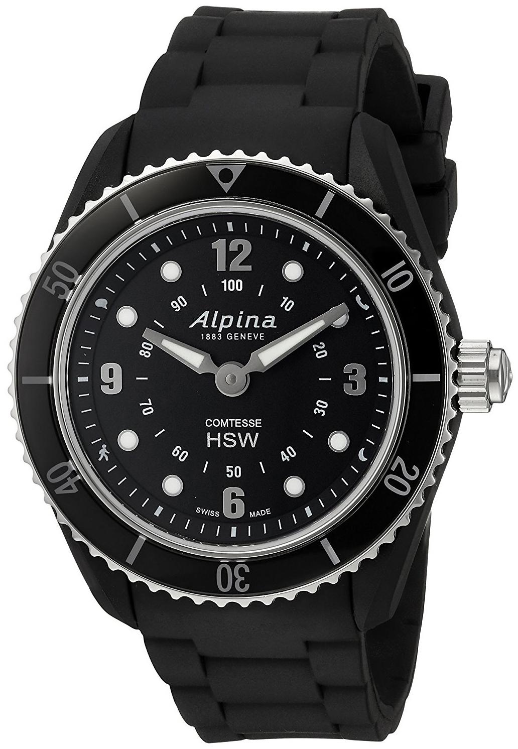 Alpina Horological Smartwatch Damklocka AL-281BS3V6 Svart/Gummi Ø36 mm - Alpina