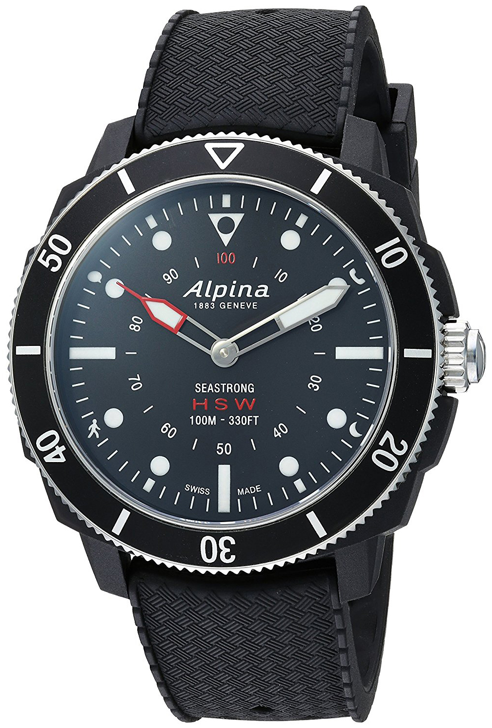Alpina Horological Smartwatch Herrklocka AL-282LBB4V6 Svart/Gummi Ø44 mm - Alpina