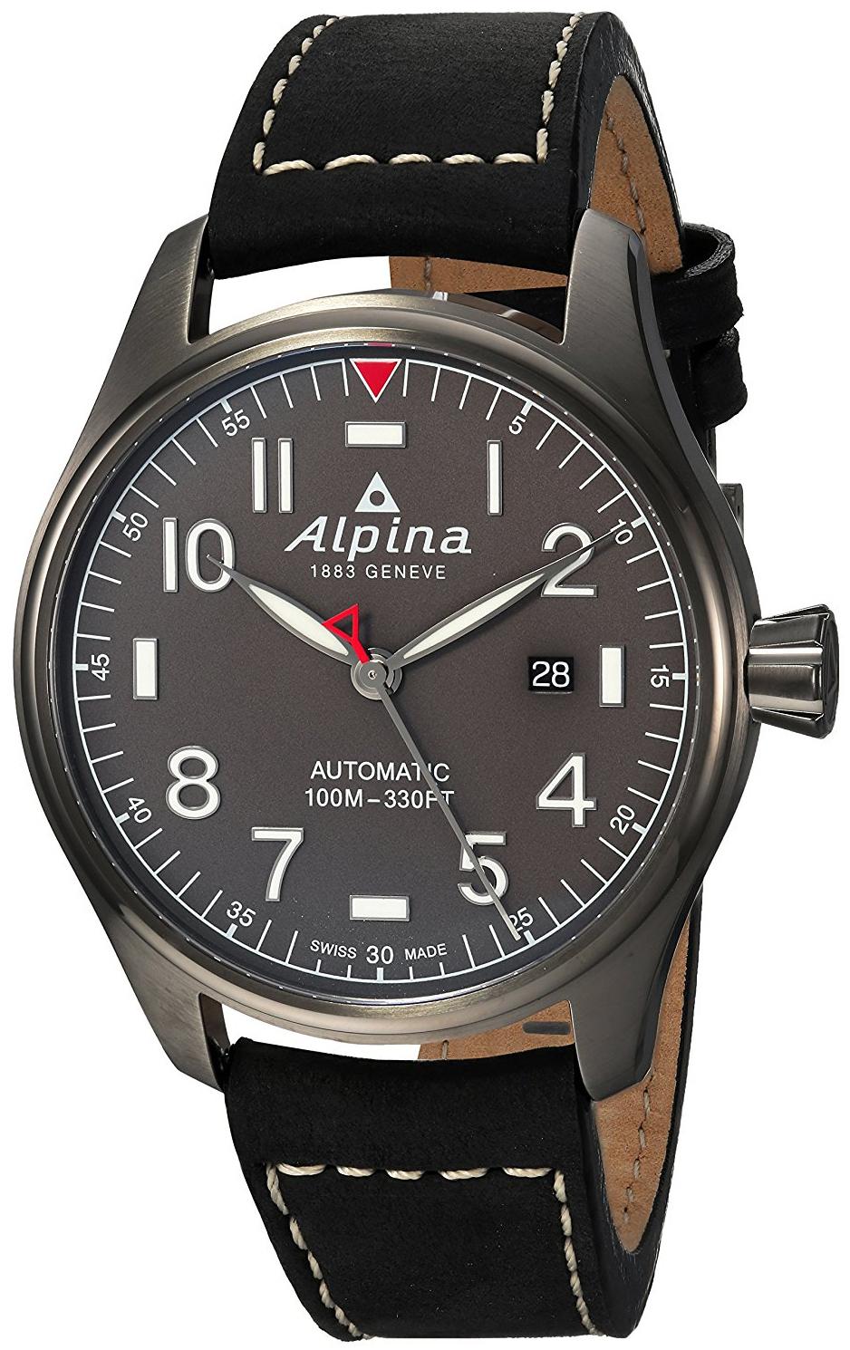 Alpina Startimer Herrklocka AL-525G4TS6 Grå/Läder Ø44 mm - Alpina