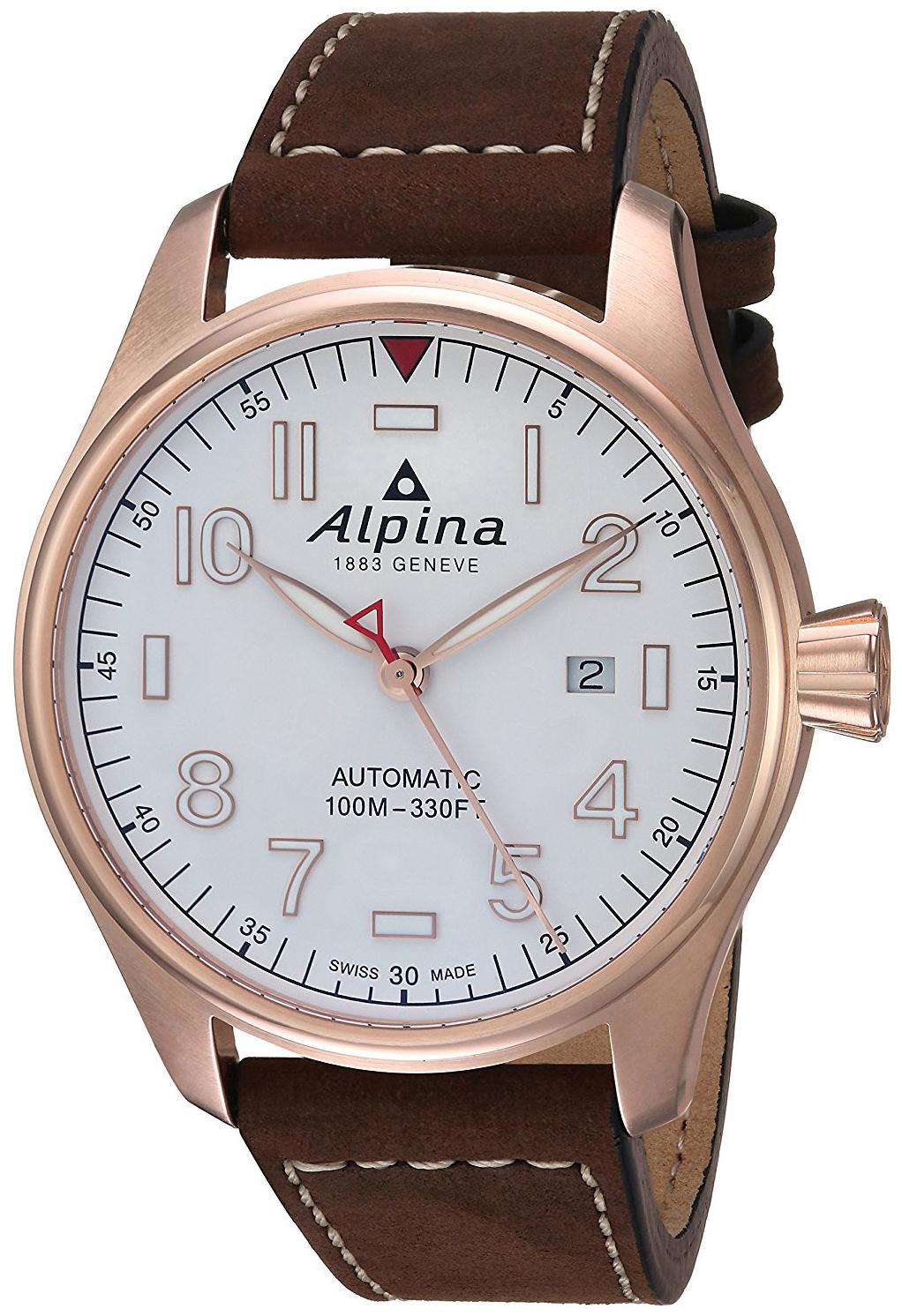 Alpina Startimer Herrklocka AL-525S4S4 Vit/Läder Ø44 mm - Alpina