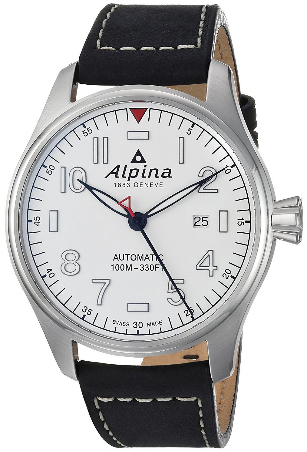 Alpina Startimer Herrklocka AL-525S4S6 Vit/Läder Ø44 mm - Alpina