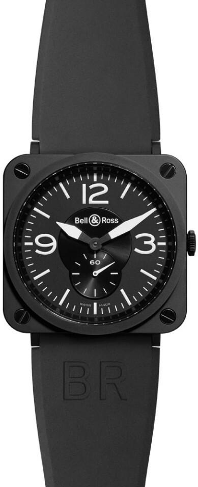Bell & Ross BR S Quartz Herrklocka BRS-BLC-MAT-SRB Svart/Gummi Ø39 mm - Bell & Ross