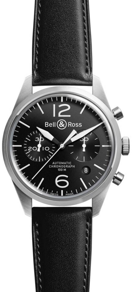 Bell & Ross BR 126 Herrklocka BRV126-BL-ST-SCA Svart/Läder Ø41 mm - Bell & Ross