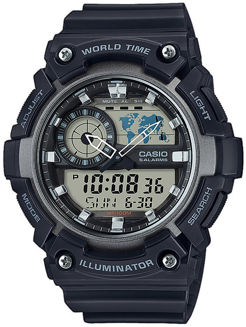 Casio Casio Collection Herrklocka AEQ-200W-1AVEF LCD/Resinplast Ø53.7 mm - Casio