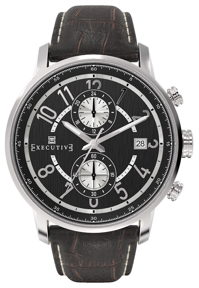 Executive Trench Herrklocka EX-1008-01 Svart/Läder Ø42 mm - Executive