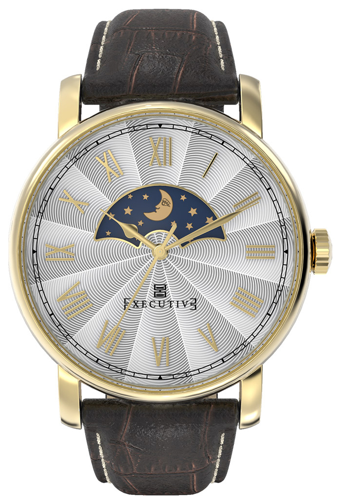 Executive Atlantic Herrklocka EX-1011-03 Silverfärgad/Läder Ø42 mm - Executive