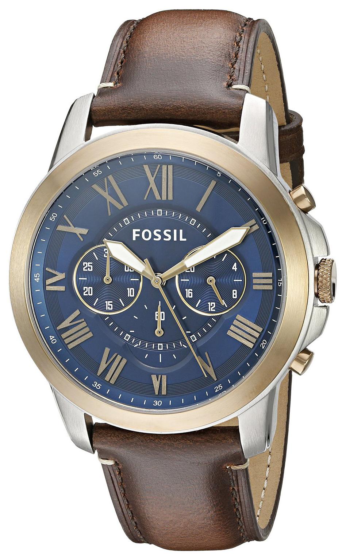 Fossil Grant Herrklocka FS5150 Blå/Läder Ø44 mm - Fossil
