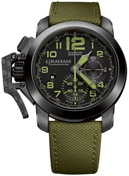 Graham Chronofighter Oversize Herrklocka 2CCAU.G01A Svart/Textil Ø47 mm - Graham