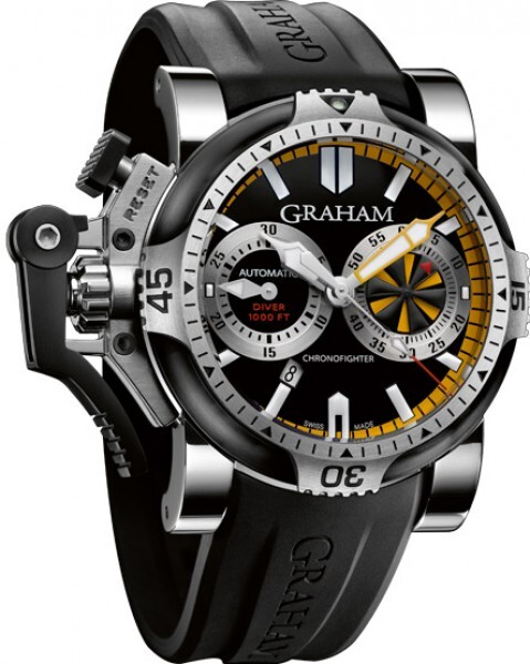 Graham Chronofighter Oversize Herrklocka 2OVEV.B15A Svart/Gummi Ø47 mm - Graham