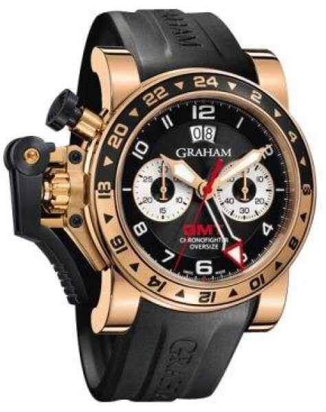 Graham Chronofighter Oversize Herrklocka 2OVGR.B21A Svart/Gummi Ø47 mm - Graham