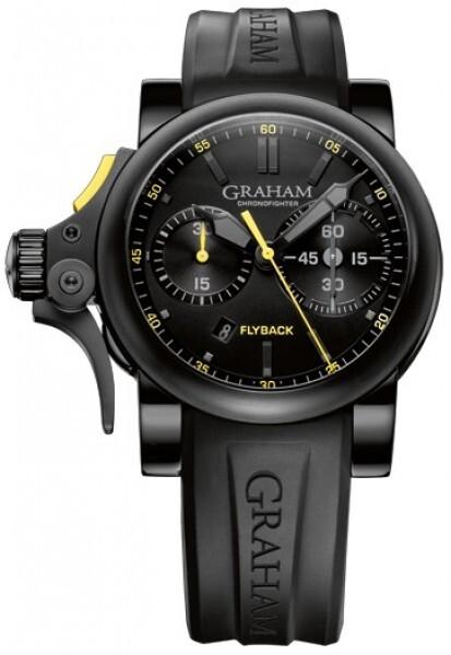 Graham Chronofighter Flyback Trigger Herrklocka 2TRAB.B11A Svart/Gummi - Graham