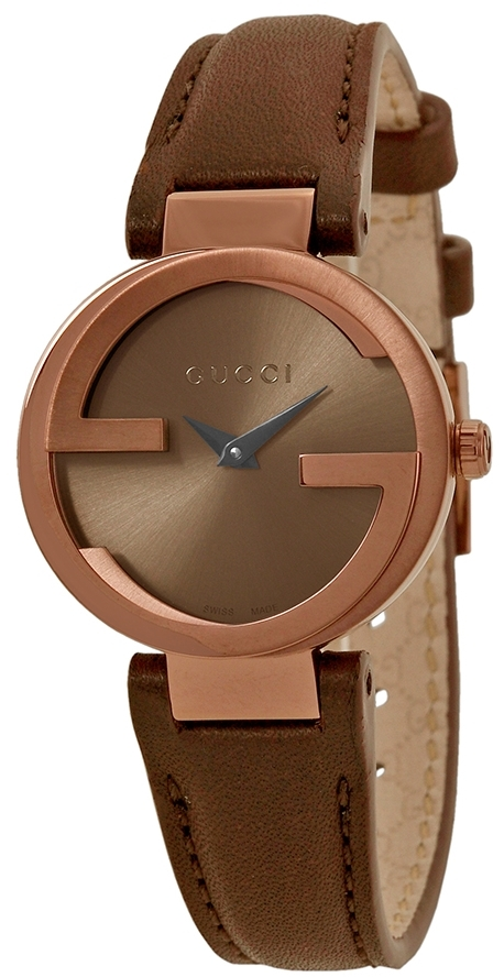 Gucci Interlocking Damklocka YA133504 Brun/Läder Ø29 mm - Gucci