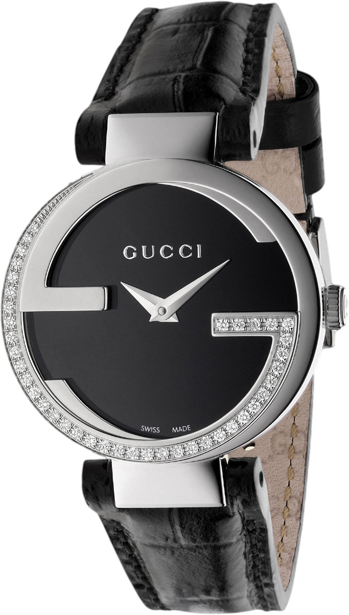Gucci Interlocking Damklocka YA133507 Svart/Läder Ø29 mm - Gucci
