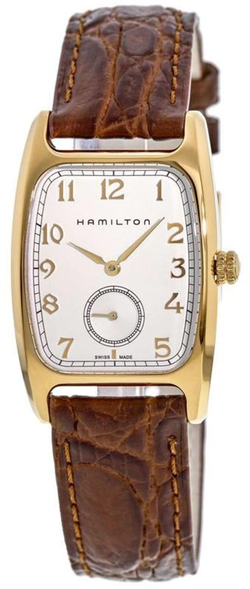 Hamilton Boulton Herrklocka H13431553 Silverfärgad/Läder 27x43 mm - Hamilton
