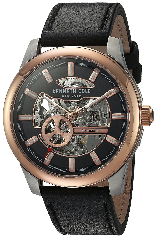Kenneth Cole Automatic Herrklocka 10031275 Svart/Läder Ø44 mm - Kenneth Cole