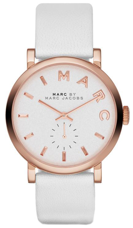 Marc by Marc Jacobs Baker Damklocka MBM1283 Vit/Läder Ø36 mm - Marc by Marc Jacobs