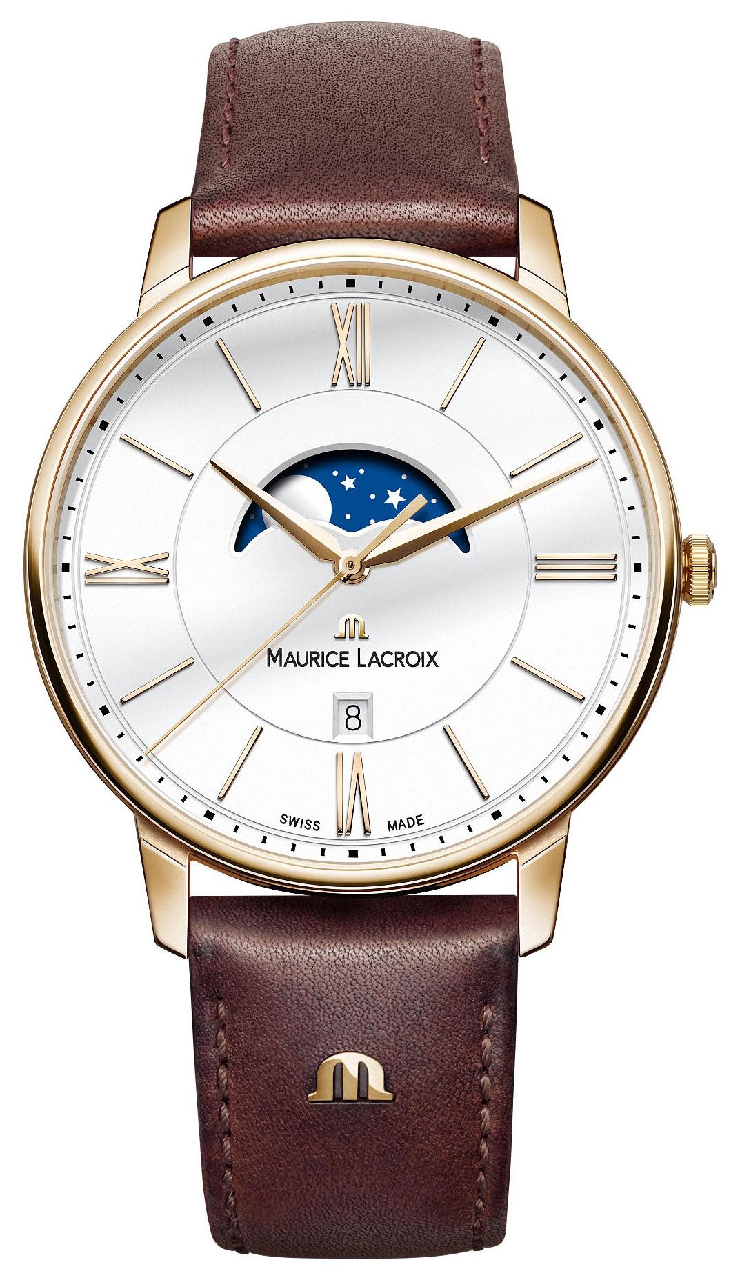Maurice Lacroix Eliros Moonphase Herrklocka EL1108-PVP01-112-1 Vit/Läder - Maurice Lacroix
