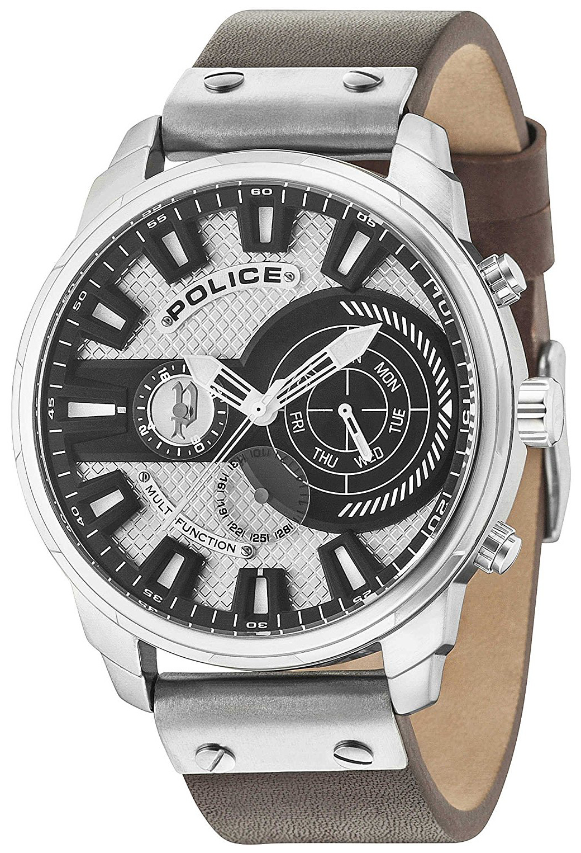 Police Leicester Herrklocka PL15217JS/04A Silverfärgad/Läder Ø50 mm - Police