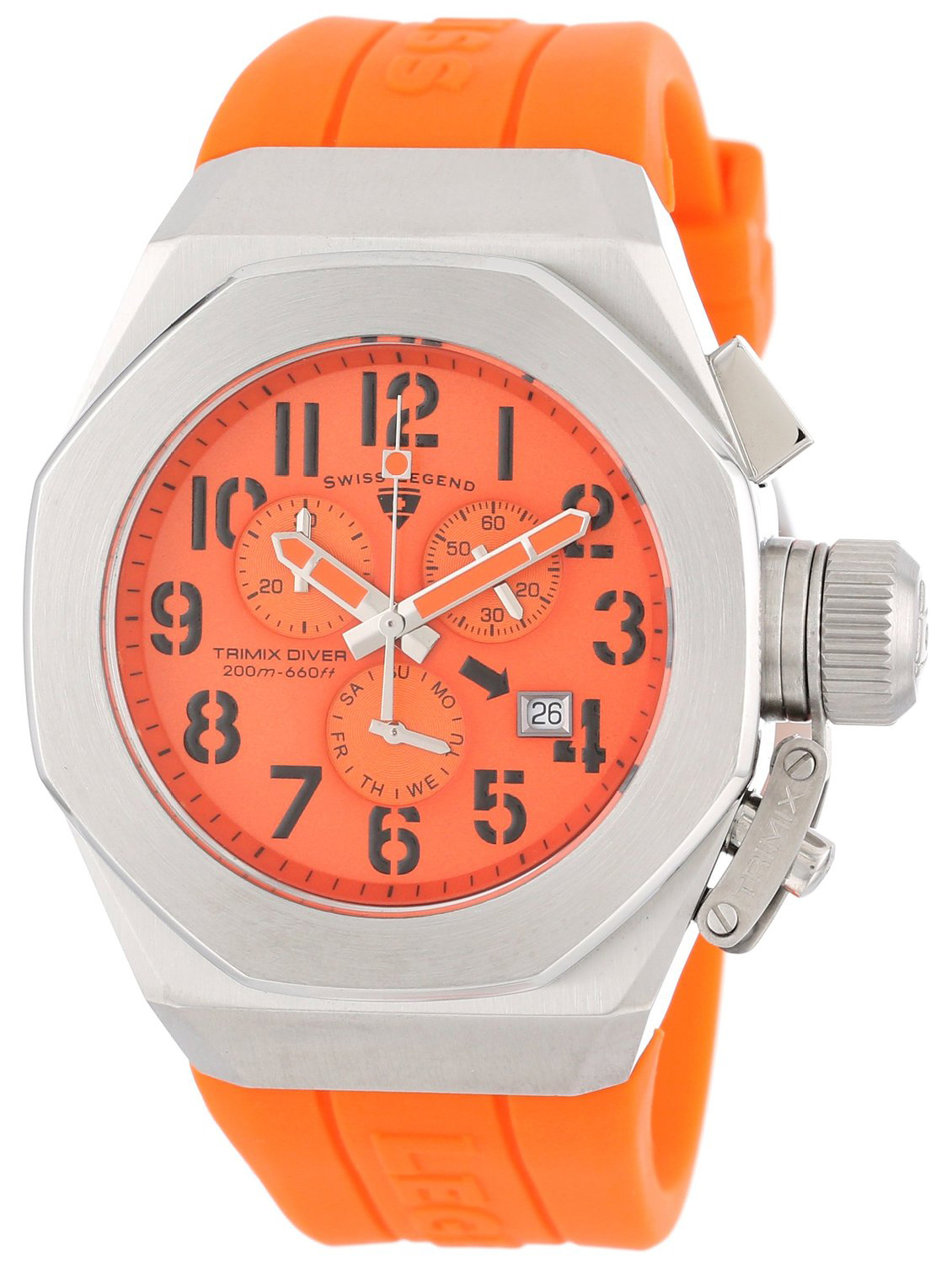 Swiss Legend 99999 Herrklocka SL-10542-06 Orange/Gummi Ø44 mm - Swiss Legend