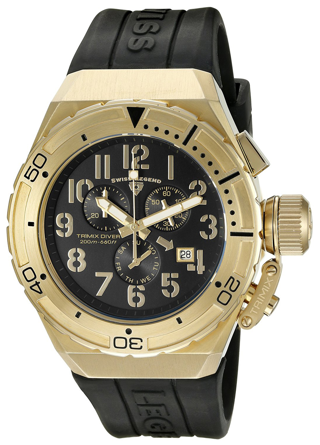 Swiss Legend 99999 Herrklocka SL-13842-YG-01 Svart/Gummi Ø46 mm - Swiss Legend