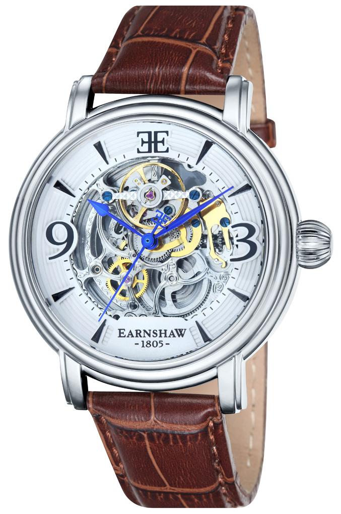 Thomas Earnshaw Longcase Herrklocka ES-8011-01 Silverfärgad/Läder Ø48 mm - Thomas Earnshaw