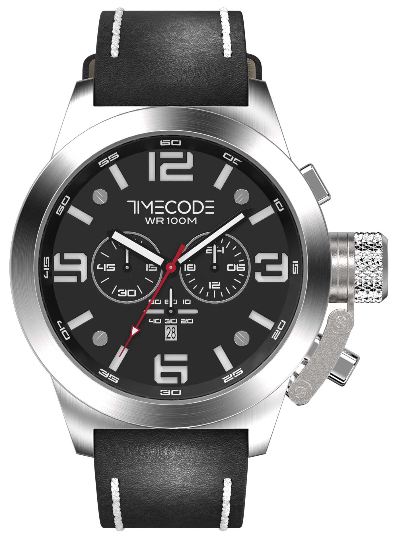 Timecode Nations 1945 Herrklocka TC-1008-01 Svart/Läder Ø50 mm - Timecode
