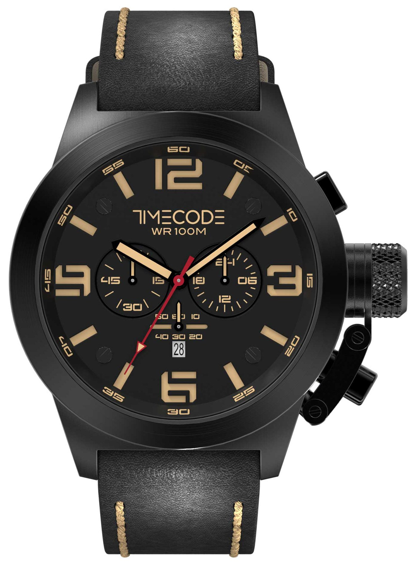 Timecode Nations 1945 Herrklocka TC-1008-05 Svart/Läder Ø50 mm - Timecode