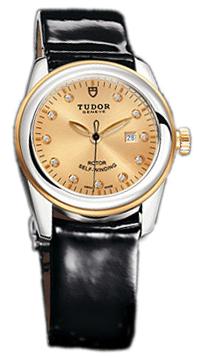 Tudor Glamour Date Damklocka 53003-CHDIDBPLS Champagnefärgad/Läder Ø31 - Tudor