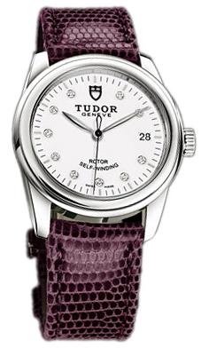 Tudor Glamour Date 55000-WDIDPRLZS Vit/Läder Ø36 mm - Tudor