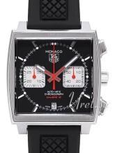 TAG Heuer Monaco Calibre 12 Automatic Chronograph Svart/Gummi 39x39 mm